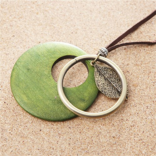 Vintage Leaf Hollow Green Wooden Tree Charm Long Leather Necklace Bronze Tone Christmas Birthday Gift Party Wear