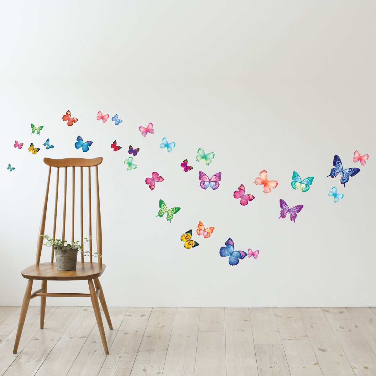 decowall dw 1302 30 vibrant butterflies kids wall stickers wall 30 vibrant butterflies kids wall stickers wall decals peel and stick removable wall stickers for kids nursery bedroom living room amazon co uk baby
