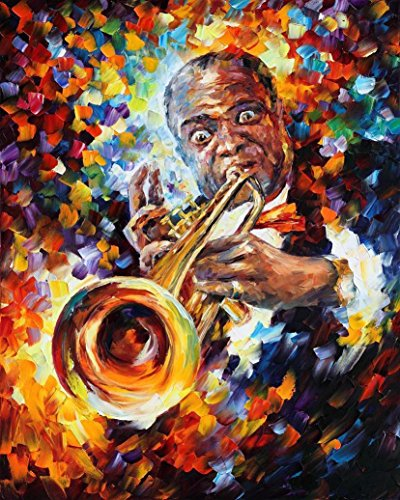Louis Armstrong Portrait Saxophone Art Music Oil Painting On Canvas By Leonid Afremov - Louis Armstrong