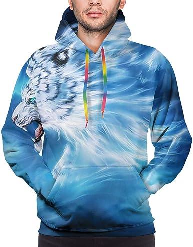 Amazon.com: White Tiger Mens Boys Fashion Hooded Long Sleeve Cool Sweatshirt  Hoodies: Clothing