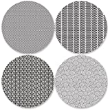 Coastero Absorbent Stone Coasters - BLACK AND WHITE - Set of 4