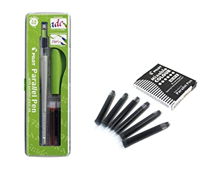 Set 1 Schönschreibfüller Pilot Parallel Pen plumin 3.8 mm Akku + Box mit 6 Ersatzminen schwarz PILOT Parallel Pen