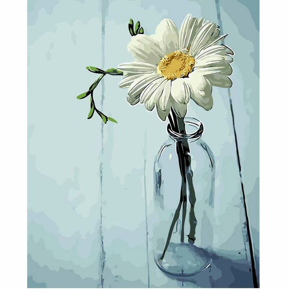 SUBERY DIY Oil Painting Paint by Numbers Kits for Adults Kids Beginner - A Flower in a Bottle 16x20 inches (Frameless)