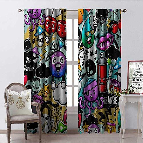 Hengshu Halloween Funny Cool Cartoon Pattern Window Curtain Drape Customized Curtains W72 x L84