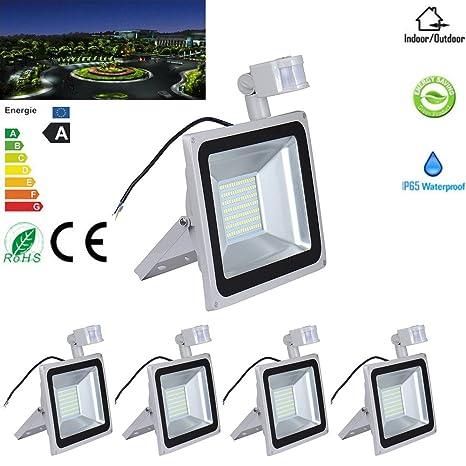 5 x 100 W blanca fría LED SMD foco PIR Sensor de movimiento de überwachungsgartenbeleuchtung Bombilla