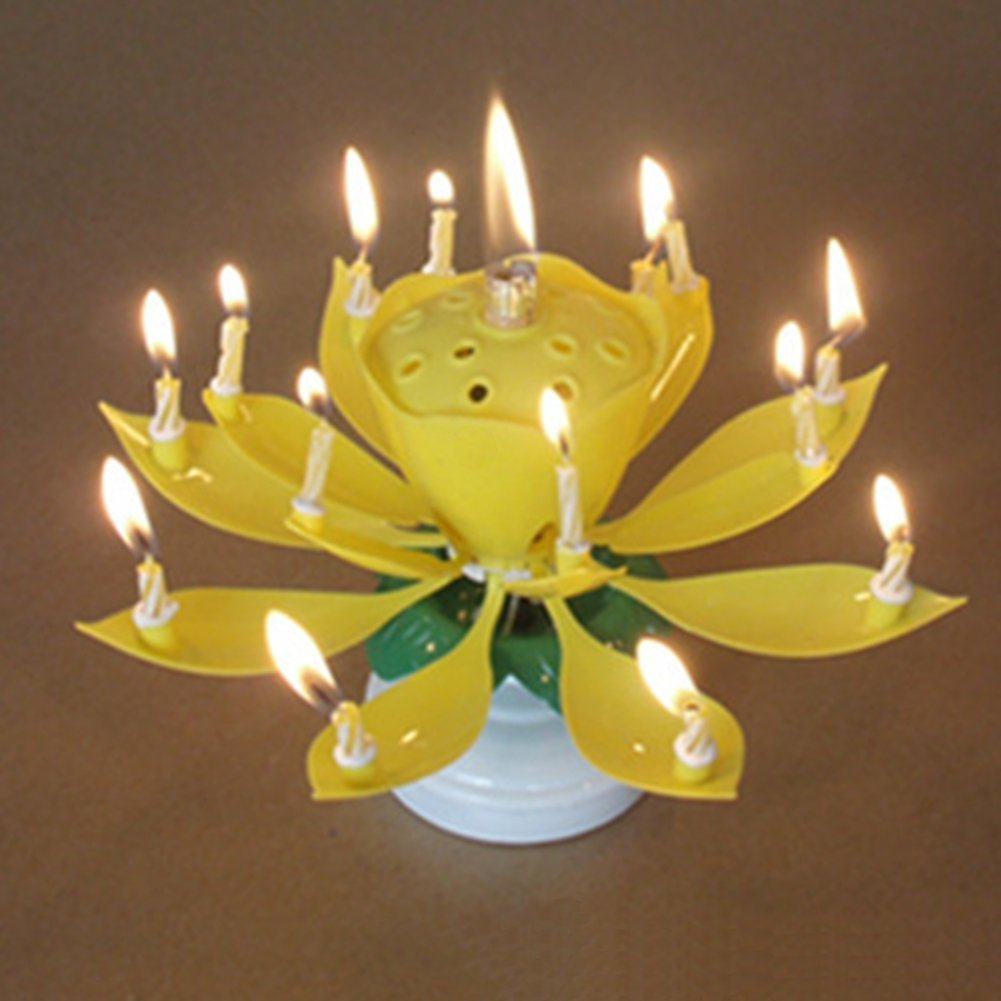 Phoenixnet Singing Opening Flower Happy Birthday Candles Musical Pack Of 2