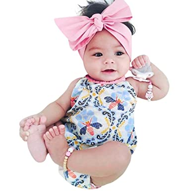 326f454c4a48 Dinglong 2Pcs Baby Girls Infant Floral Print Toddler Jumpsuit Romper+ Headband Set Clothes 6-24 Months Baby Girl Blue  Amazon.co.uk  Clothing