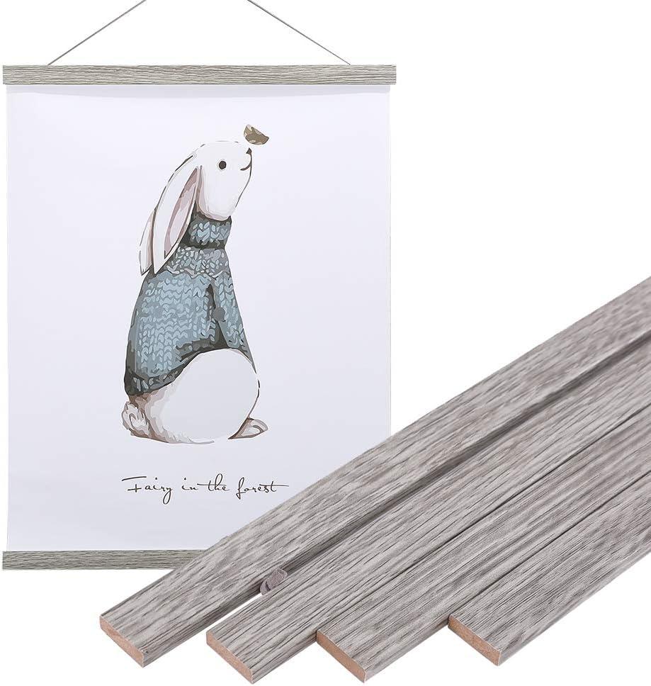 """Artmag Magneitc Poster Hanger Frame, 12x18 12x16 12x24 Light Wood Wooden Magnet Canvas Artwork Print Dowel Poster Hangers Frames Hanging Kit (Grey, 12"""")"""