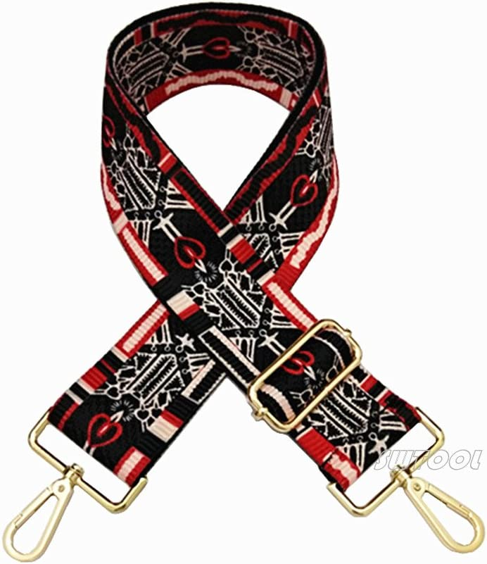 with 2Pcs Gold Metal Buckles Style1 SWTOOL 2 Wide 28-50 Adjustable Length Handbag Purse Strap Guitar Style Multicolor Canvas Replacement Strap Crossbody Strap