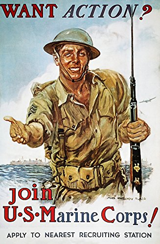 Wwii Recruiting Poster NWant Action American World War Ii Marine Corps Recruiting Poster 1942 By James Montgomery Flagg Poster Print by (18 x 24)