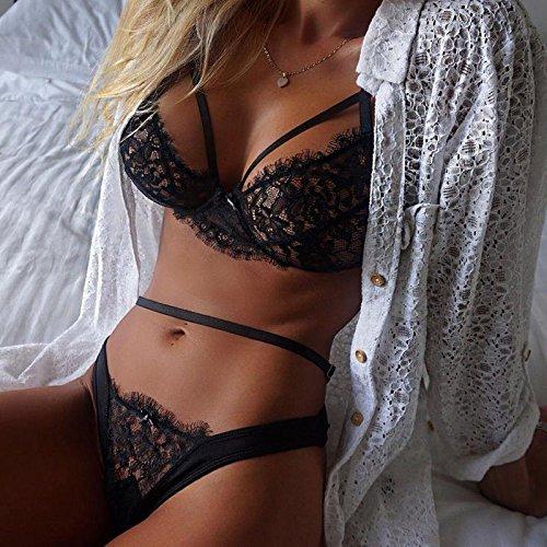WENROU Ropa interior de encaje calado correa sujetador ver a través de la ropa interior de bikini ,M L