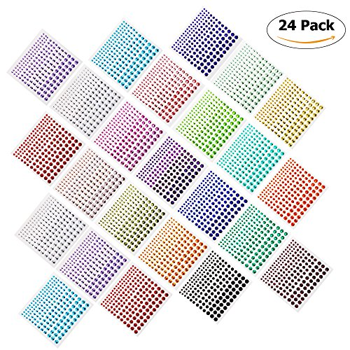 Rhinestone Stickers,3960 PCS Self-Adhesive Rhinestones in 20 COLORS&4 SIZES,24 Sheets DIY Self Adhesive Gem Rhinestone Embellishment Stickers,Ideal for - Decal Adhesive Face