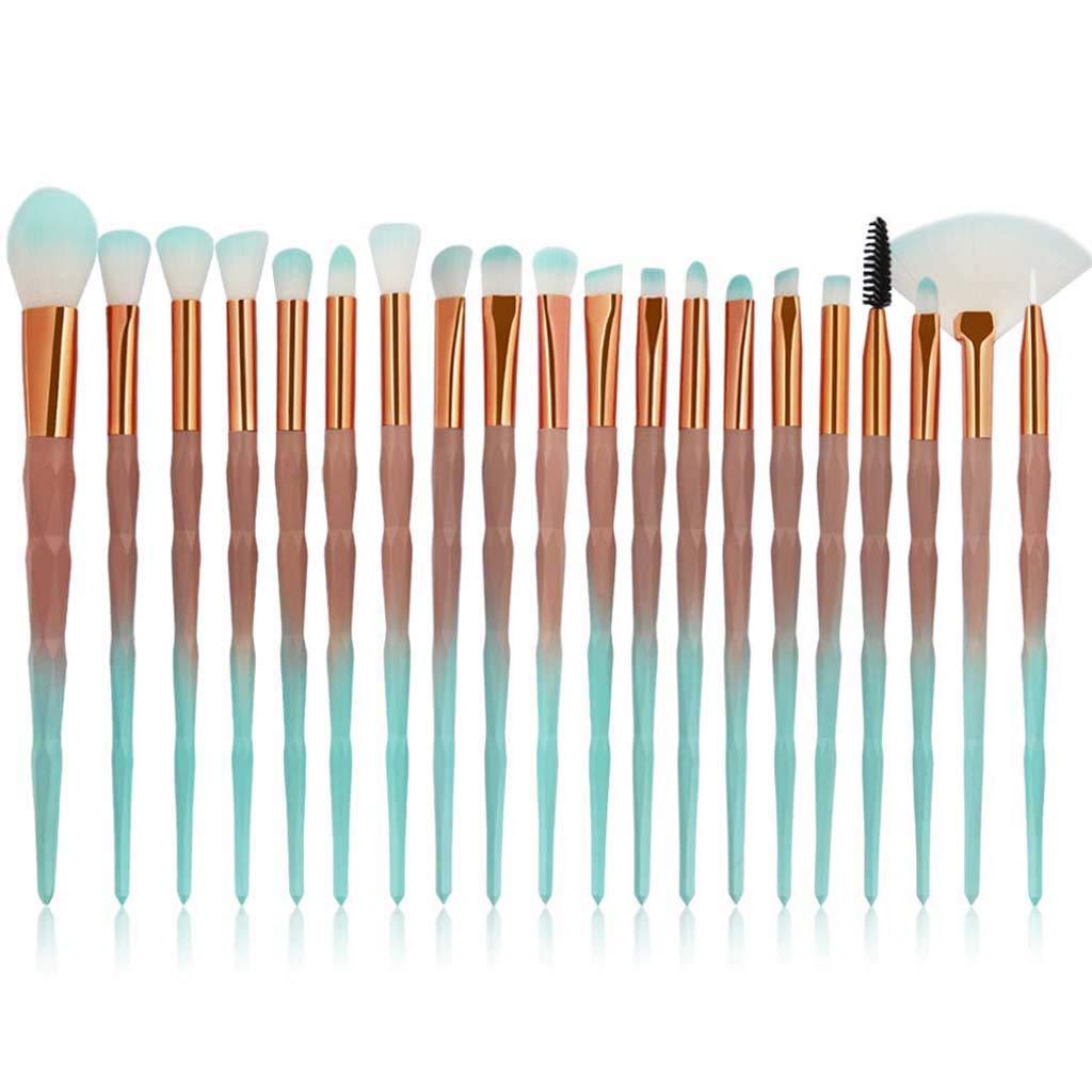 Eye Brush Set, 20 pcs Unicorn Eyeshadow Eyeliner Blending Crease Kit Makeup Brushes Make Up Foundation Eyebrow Eyeliner Blush Cosmetic Concealer Brushes (Green)