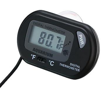 Termometro digital LCD para acuarios, peceras, estanques de agua compacto y robusto Con potente ventosa para fijar con seguridad en cristal.