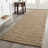 Safavieh Bohemian Collection BOH525F Hand-Knotted Beige and Multi Jute Runner (2'6'' x 10')
