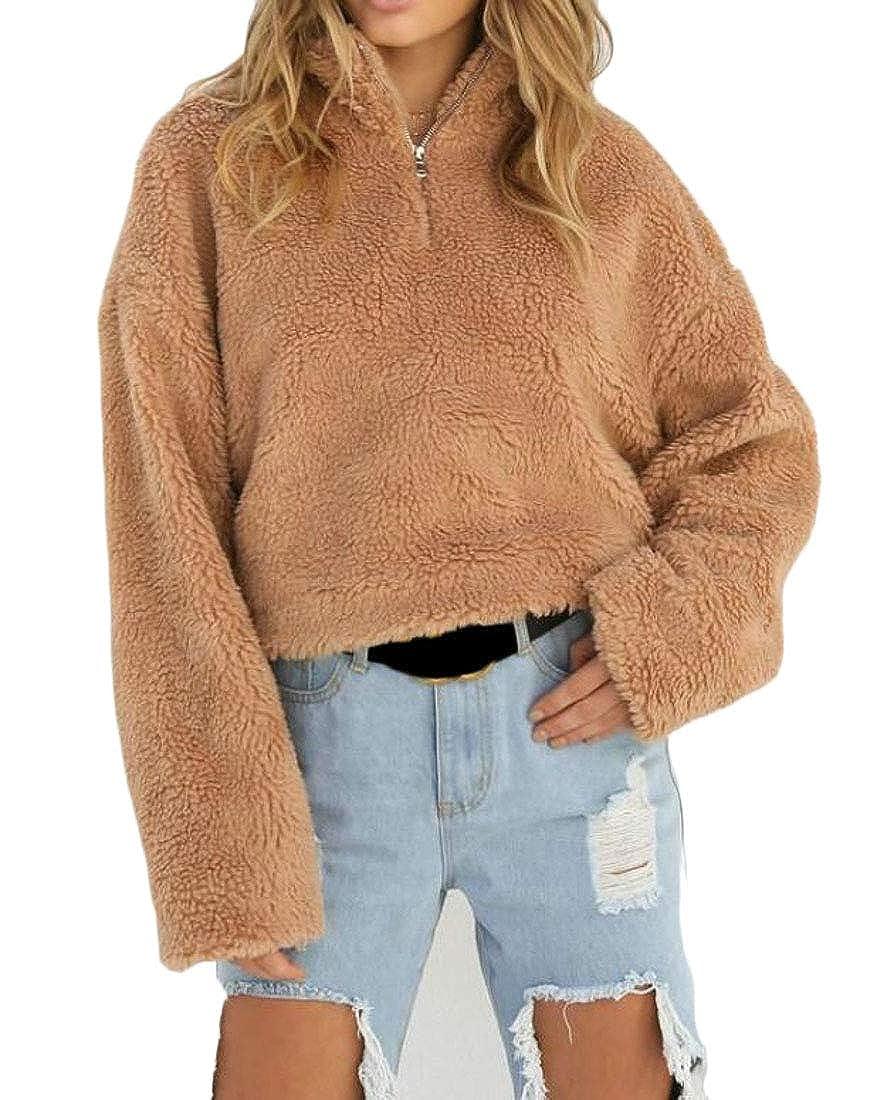 XTX Women Stylish Fleece Stand Collar Zipper Long Sleeve Pullover Sweatshirt