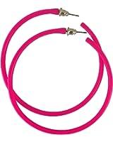 REDSTAR FANCY DRESS Neon Hoop Earring 1980s Fancy Dress Accessory 80s Party - Many Colours