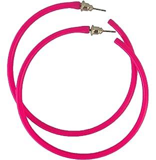 8445bac386de REDSTAR FANCY DRESS Neon Hoop Earring 1980s Fancy Dress Accessory 80s Party  - Many Colours