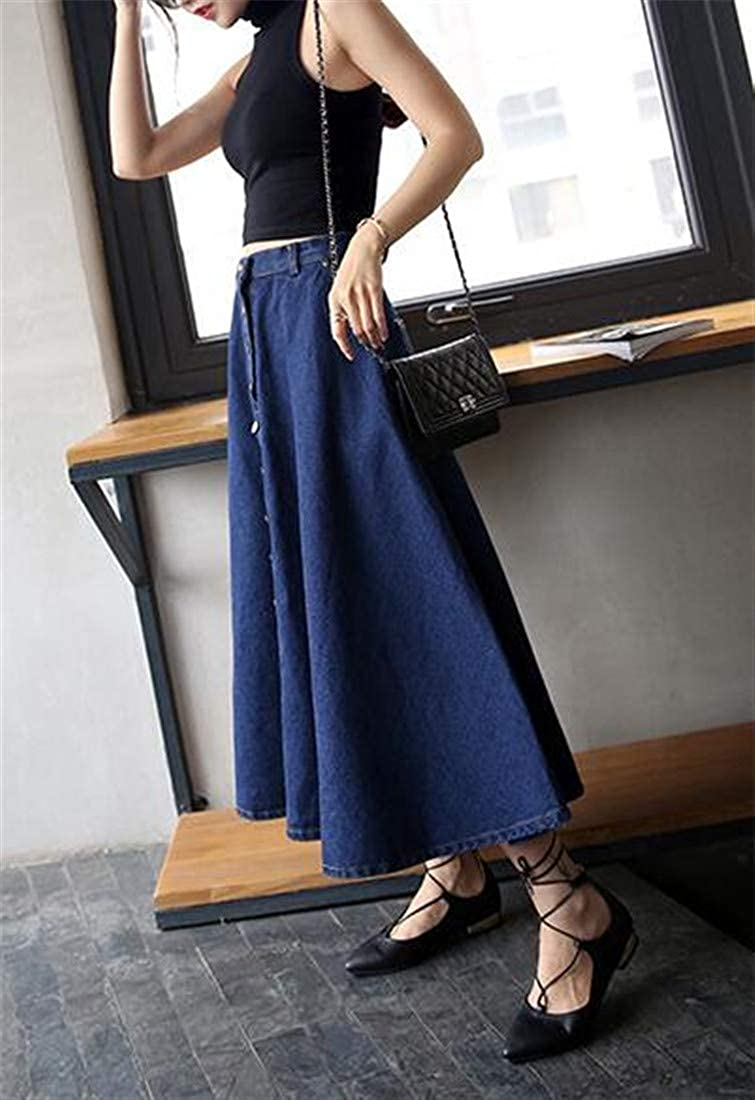Cromoncent Womens Denim A line Swing Single Breasted High Waisted Skirts