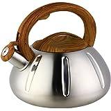 OCATO 3.2 Quart Tea Kettle Stainless Steel Teakettles Whistling Stove Top Kettle Teapot with Vintage Wood Grain Handle Cute Pumpkin-Shaped