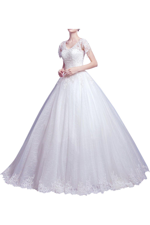 (ウィーン ブライド) Vienna Bride ウェディングドレス 花嫁ドレス ドレス レース ブライダル ふんわりとする裾 編み上げ ハイネック 透け感 オープンバック ウエストニッパー アップリケ B071X891NK 19W|ホワイトP ホワイトP 19W