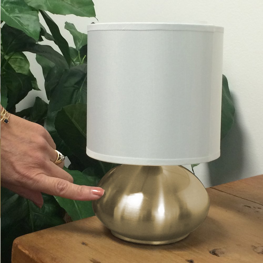 9.25 9.25 18581-000 Silver Catalina Lighting Caden 2-Pack Mini 9-inch Metal Touch Accent Lamps with Linen Drum Shades