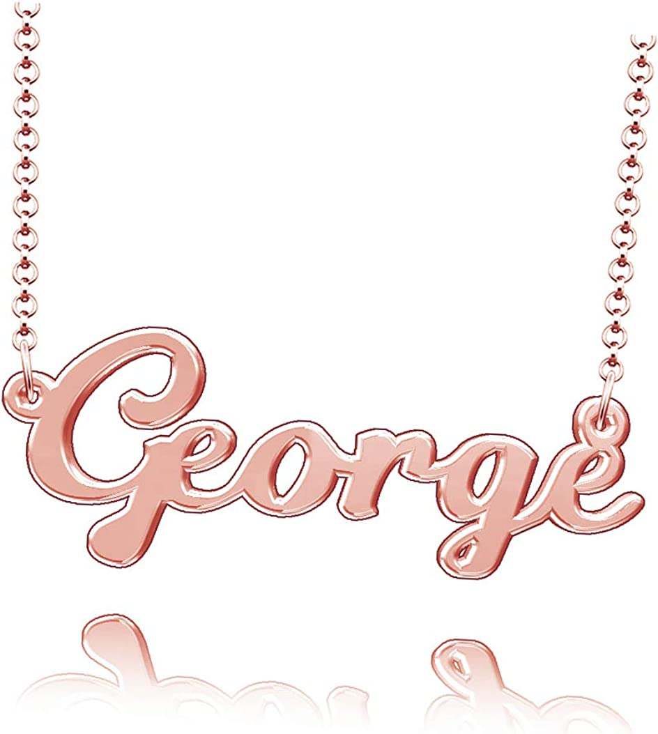 LoEnMe Jewelry Customized George Name Necklace Stainless Steel Plated Custom Made of Last Name Gift for Family
