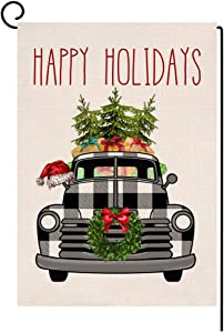 BLKWHT Happy Holiday Buffalo Truck Black Small Garden Flag Vertical Double Sided Christmas Burlap Yard Outdoor Decor 12.5 x 18 Inches (142963)