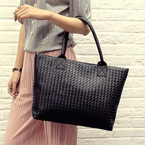 Large Messenger Bag Shoulder Bag Leather Handbag Women Hobo Euone Woven Black 0CwgqxOfX