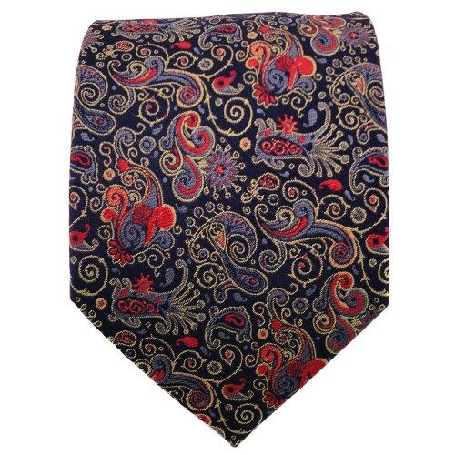 TigerTie cravate en soie orange rouge bleu foncé à motifs - cravate en soie