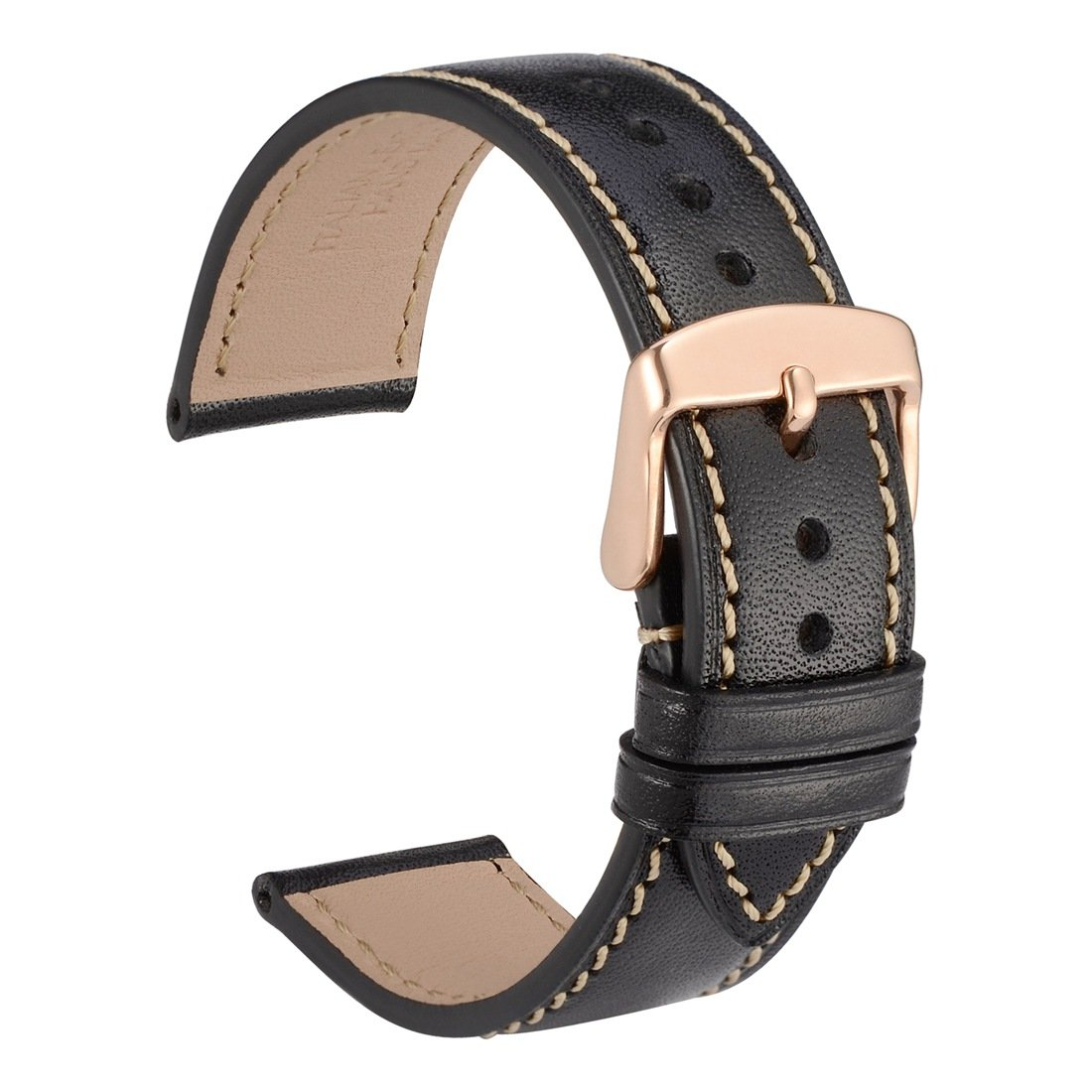 WOCCI 22mm Full Grain Leather Watch Band with Rose Gold Buckle, Sports-Style Strap, Replacement Bracelet (Black)