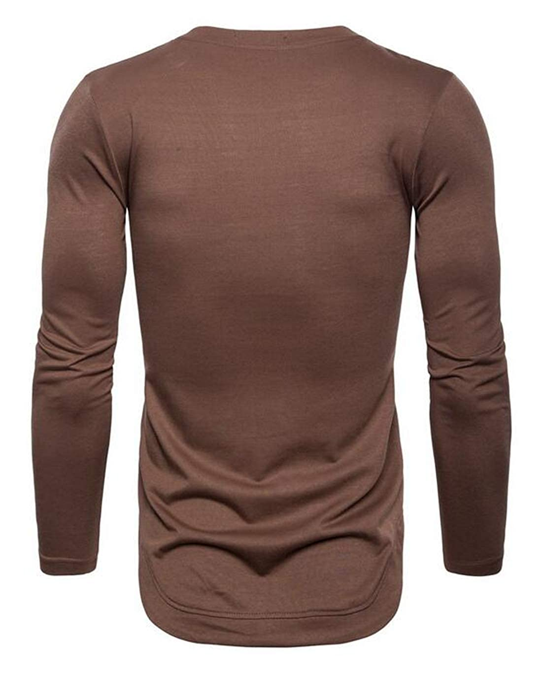 Rrive Mens Plain Slim Fit Long Sleeve MuscleCompression Comfy Round Neck T-Shirts Tee