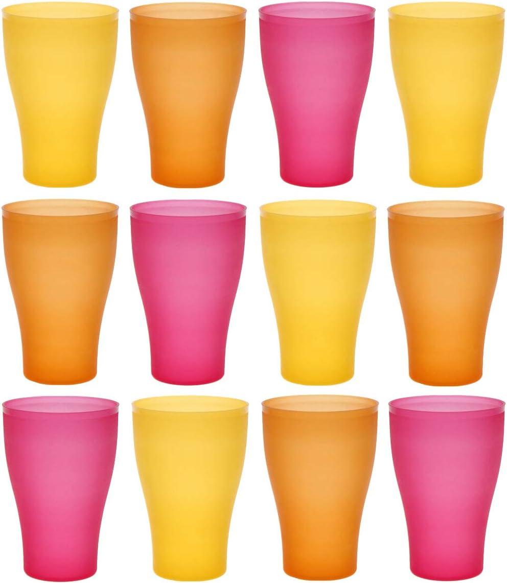idea-station Neo Vasos plastico 12 Piezas, 450 ml, Verano-edicion, Reutilizable, inastillable, Duro, vajilla, Tazas, Copas, Vaso, niños, Infantiles, de Agua, cóctel, Fiesta