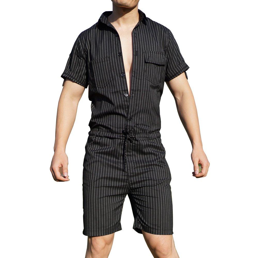 79e5a4bc4039 YOUMU Men Hip-Hop Short Sleeve Striped Romper Suit Jumpsuit Playsuit  Overalls One Piece Black - Black -  Amazon.co.uk  Clothing