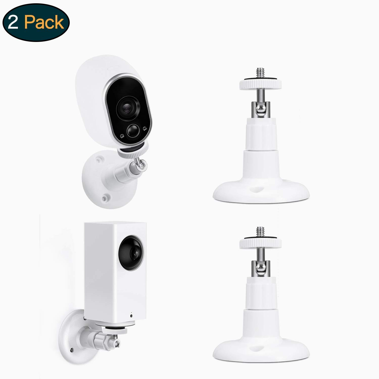 Swee Lightweight Wall Mount, Adjust to Any Angle in/Outdoor Mount Compatible with CCTV, Arlo Cameras, Arlo Pro, Motorola Baby, Baby Monitor, Oculus Rift Sensors, Secure Vtech Safe(2 Pack) (White)