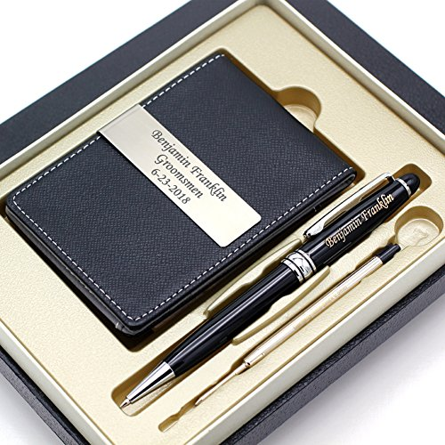 Free Engraving - Groomsmen Gift, Roller Ballpen, Ballpoint pen, Ball pen, Refillable Pen, Refill pen, Leather Money Clips, Card Holder, Three Lines Each 20 Characters, Free Customization Ballpoint Gift Pen