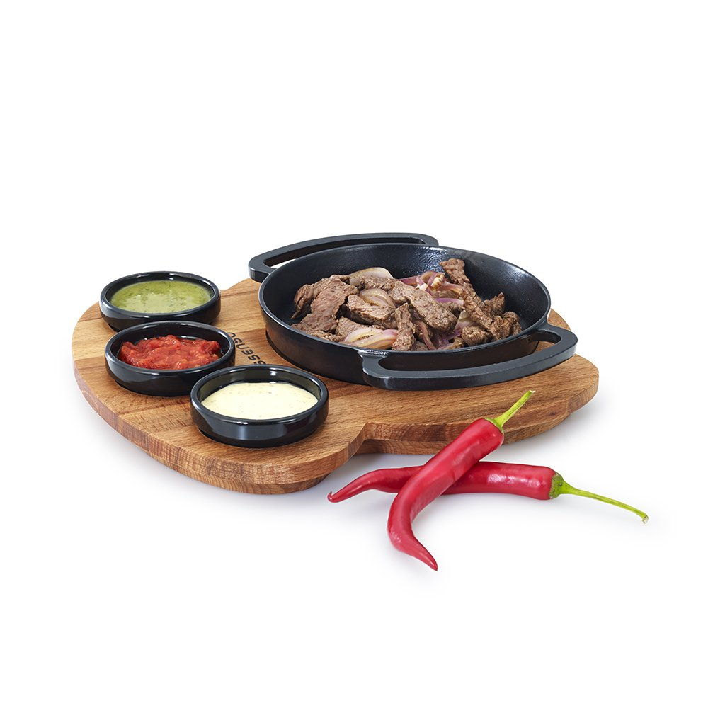 Best Enameled Cast Iron Fajita Set with Wooden Trivet Tray 6.5 Inch