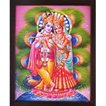 Lord Radha Krishna Playing Flute with Peacock Feather, a Decorative Religious Poster with Frame