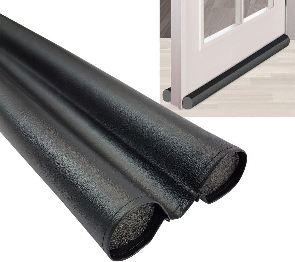 Burlete de puerta Dúo 95 cm - Freno contra corrientes de aire, insectos y el frío - Se puede acrotar individualmente y hecho de pvc flexible