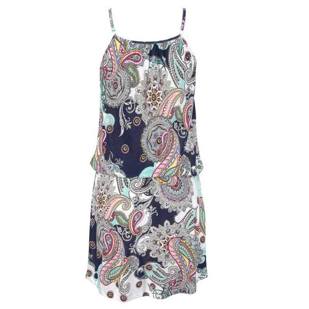 Quelife Dress for Women Casual Bohemia Printed Sleeveless Summer Halter Dresses Girl Ladies for Party (White,M) by Quelife (Image #5)