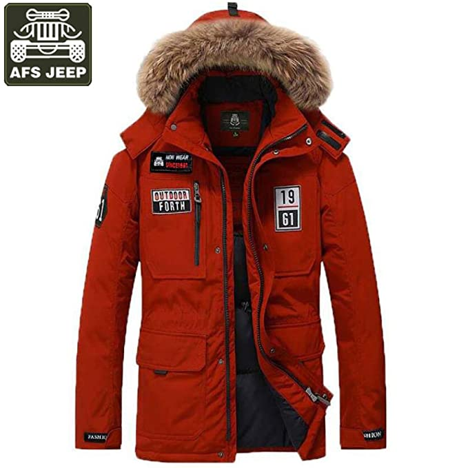 84650e4ea AFS Jeep Winter Jacket Men Down Parka Jacket Men Windbreaker Hooded Collar  Size M-3XL