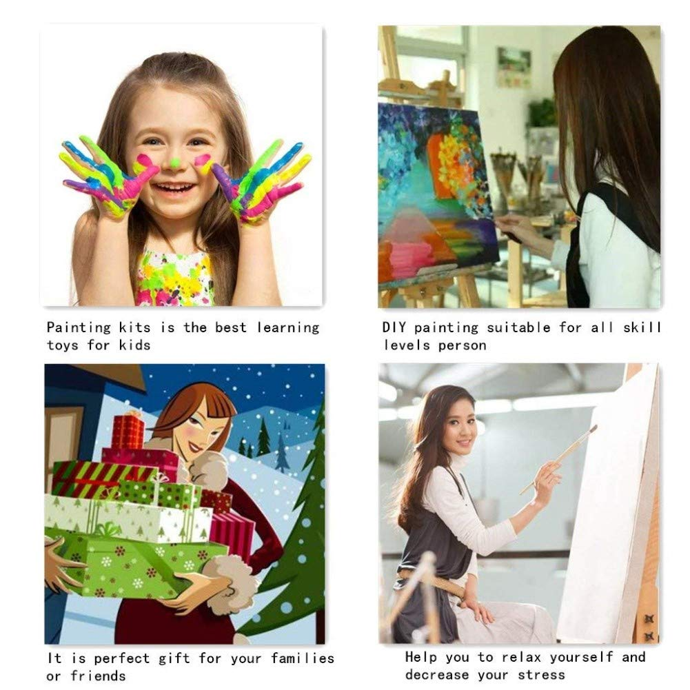 KXCFCYS New Arrival DIY Oil Painting by Numbers Kit Theme PBN Kit for Adults Girls Kids White Christmas Decor Decorations Gifts Picture-wood-KXC-mbE190