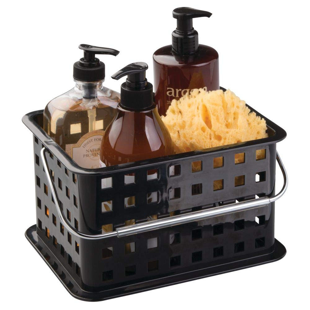 InterDesign Storage Organizer Basket, for Bathroom, Health and Beauty Products - Small, Black