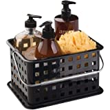 """iDesign 61202 Spa BPA-Free Plastic Small Stackable Basket with Handle - 5.3"""" x 8.8"""" x 6.9"""", Black"""
