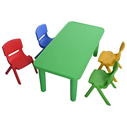 Giantex Kids Plastic Table And 4 Chairs Set Colorful Play School Home Fun  Furniture