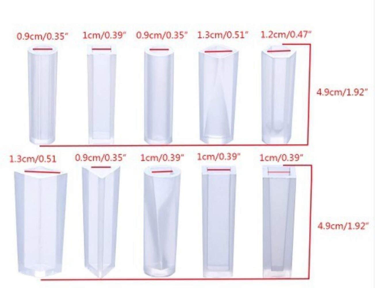 10 moldes de silicona para joyería con agujero para colgar para hacer manualidades, molde de silicona multifacético para hacer arcilla de polímero, ...