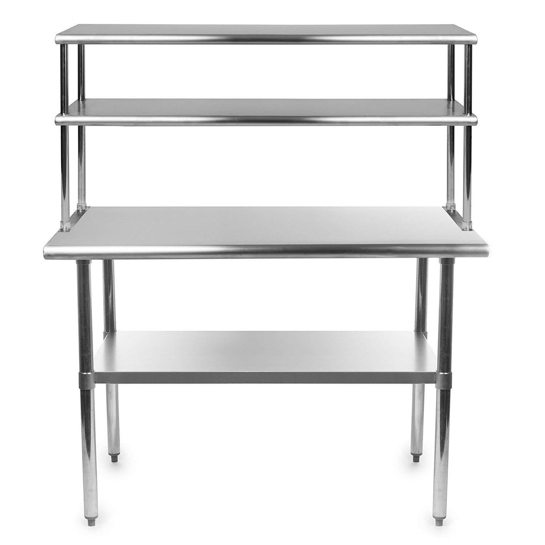 Stainless Steel Work Prep Table 24 x 24 with Adjustable Double Overshelf 18 x 24