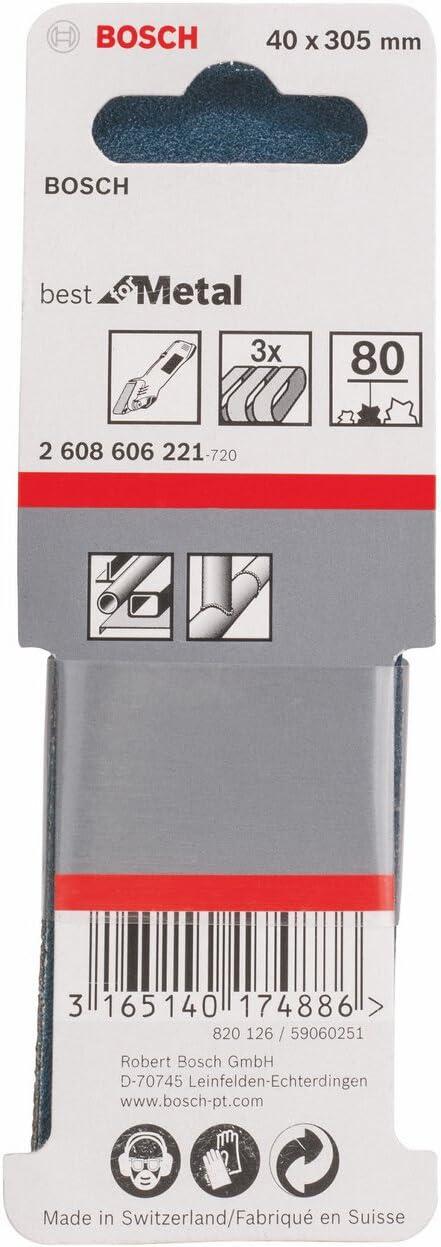 3 piezas 80 Bosch 2 608 606 221 40 x 305 mm pack de 3 Set de banda lijadora