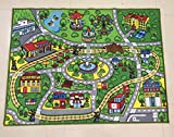 Large Kid Play Rug for Toy Cars ,Safe and Fun Children Learning carpet With Non-Slip Backing Kid Play mat For Playroom ,Bedroom and Nursery (39'' x 51'')