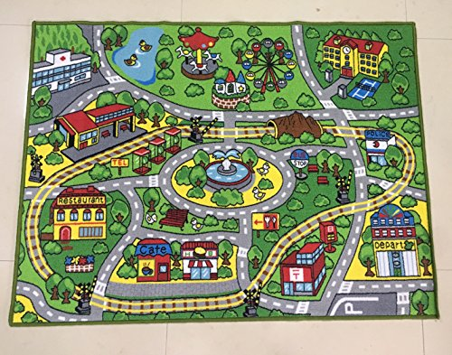HUAHOO Large Kid Play Rug for Toy Cars,Safe and Fun Children Learning Carpet with Non-Slip Backing Kid Play mat for Playroom,Bedroom and Nursery (39'' x 51'') by HUAHOO